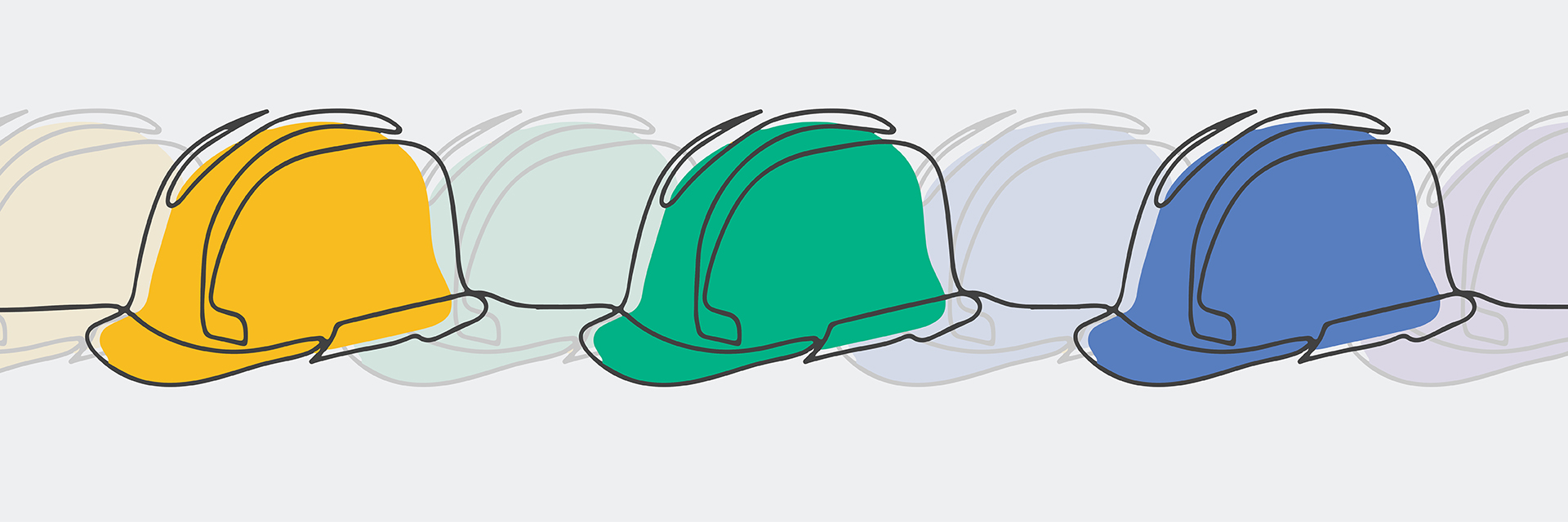 Graphic illustration three hardhats in various colors.